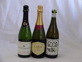 セレクション辛口スパークリングワインス3本セット750ml×3本(フランス オーストラリア スペイン)