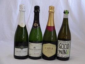 セレクション辛口スパークリングワインス4本セット750ml×4本(フランス1本 オーストラリア1本 スペイン2本)