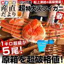 送料無料 北海道より直送 船凍品 超特大ズワイガニ 超盛5.3キロ(1キロ超×5尾)