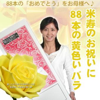 ≪米寿のお祝いに88本の黄色のバラ≫2【送料無料】セール【豪華ラッピング付】【トゲ取り処理済】【メッセージカード付】※お届け日が近い場合はミックスカラーになります