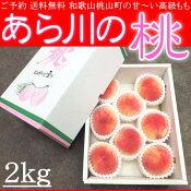 お中元和歌山桃山町あら川の桃もも2kg化粧箱送料無料ご予約