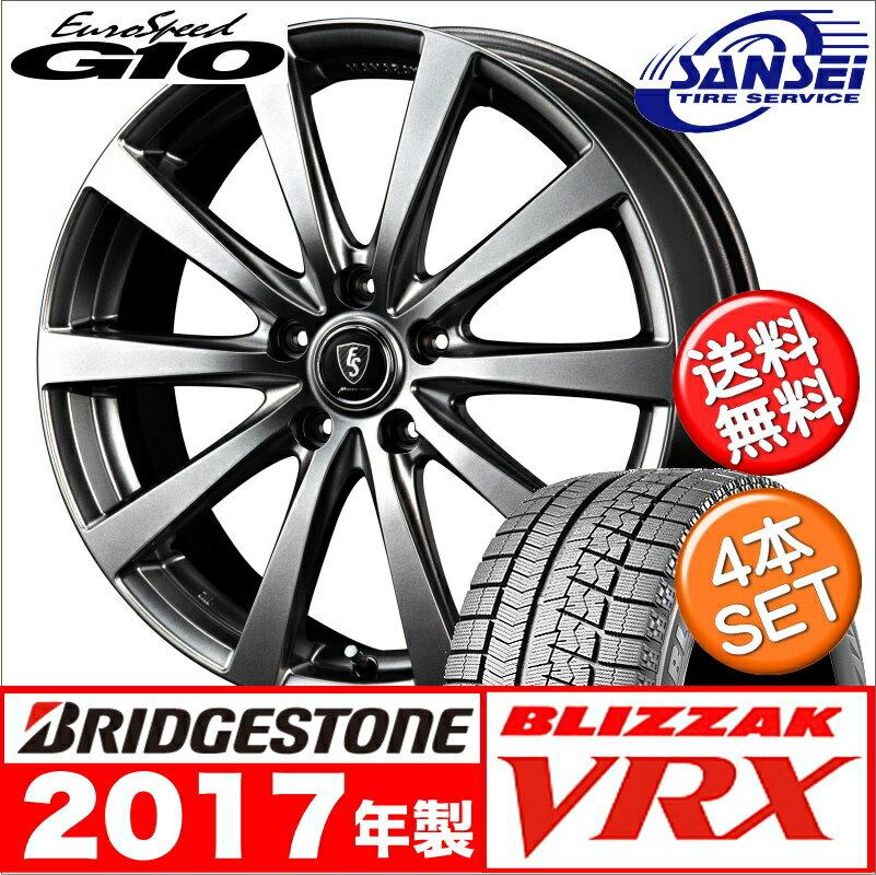 【2017年製】新品 ブリヂストン ブリザック VRX - 205/60R16 マナレイ ユーロスピード G10 / 16×6.5J 新品スタッドレスタイヤホイール 4本セット 205-60-16 【冬】メジャーBLIZZAK