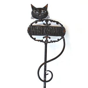ウェルカムキャットスティック ガーデニング オーナメント 黒猫 アイアン おしゃれ デコレーション ガーデン プレート サイン