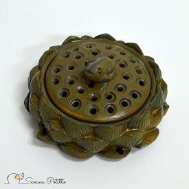 蓮の上の蛙 香炉 高さ6cm Y19032 カエル かえる ハス 置物 縁起物 インテリア オブジェ 無事帰る 福が返る 若返る お金が返る 癒し お香立て