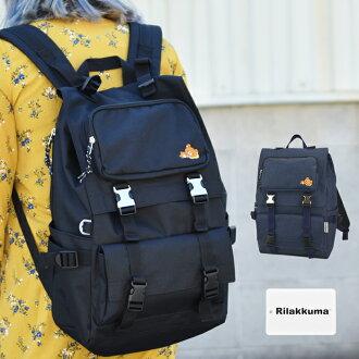 Rilakkuma再框口罩空氣學校帆布背包尼龍全部季節大容量刺綉禮物黑色深藍MRK-096/MRK-097