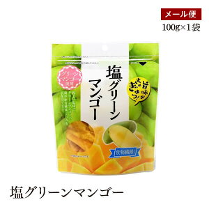 【メール便】塩グリーンマンゴー100g スタンド袋(チャック付)ほのかな塩味と甘み ドライフルーツ もっちり食感【送料無料】