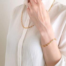 春アクセ☆母の日♪ラッピング無料【送料無料】セットがお得なデザインチェーン ネックレス&ブレスレット レディース ゴールド アクセサリー ジュエリー シンプル お洒落 トレンド 上品 デート プレゼント ギフト ラッピング 春xbx