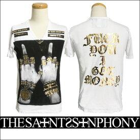 新作【THE SAINTS SINPHONY/セインツシンフォニー】CHAMPIONSHIP RINGS・Tシャツ(半袖・Vネック・ホワイト・WHT)メンズ【送料無料】モノクロFUCKグラフィック×ゴールドプリントがCOOL!バックスタイルもカッコイイ1枚です!【インポート】【セレカジ】【正規品】