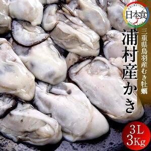 牡蠣 むき身 特大 3L 3kg(25〜30粒×3袋)三重県志摩市 浦村かき 生浦湾 浦村産 カキ むき 冷凍 加熱用 生牡蠣【送料無料】