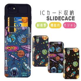 iPhoneSE(第2世代) ケース iPhone 11 pro max ケース iPhoneXR XSMax iPhone8ケース GalaxyS9 背面収納 スマホケース 耐衝撃 おしゃれ ICカード収納 宇宙柄 スペース 宇宙人 UFO かわいい ビックバン
