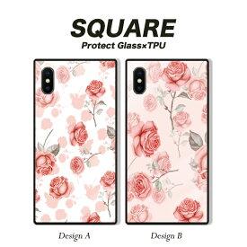 iPhone XR 背面ガラス スクエアケース iPhone X MAX iPhone 8 8Plus 7 7Plus galaxy S9 スマホケース 強化ガラス バラ 薔薇 花柄