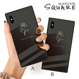 iPhone12 ケース iPhone 12 pro max ケース iPhone11 11pro SE2ケース 背面ガラス スクエア 四角 iPhone XR 強化ガラス 軽量 おしゃれ GalaxyS9 ケース おしゃれ シンプル バラ ローズ 金 ゴールド 花 フラワー 大人可愛い Rose
