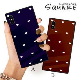iPhone12 ケース iPhone 12 pro max ケース iPhone11 11pro SE2ケース 背面ガラス スクエア 四角 iPhone XR 強化ガラス 軽量 おしゃれ GalaxyS9 ケース おしゃれ 大人カワイイ シンプル 小さい ハート 青 赤 heart