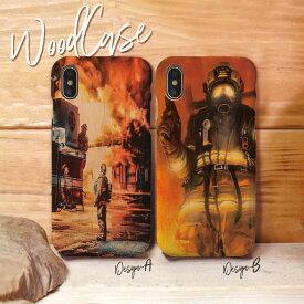 iPhoneXsMAX XR X Xs ケース iPhone8/7/6 ウッドケース iPhone8Plus/iPhone7Plus/6s/6sPlus wood ケース XperiaZ5 woodケース iPhoneSE 木製 ケース 消防士 ファイヤーマン fireman かっこいい 木目ケース