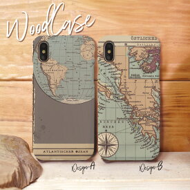 iPhoneXsMAX XR X Xs ケース iPhone8/7/6 ウッドケース iPhone8Plus/iPhone7Plus/6s/6sPlus wood ケース XperiaZ5 woodケース iPhoneSE 木製 ケース 地図 世界地図 古地図 航海 コンパス 大陸 アトランティス かっこいい おしゃれ 木目ケース