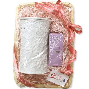 プチギフトセット アロマライト ローズホワイト ショート+お好きな精油1本セット 香りとランプのセット 女性 誕生日や贈り物に プレゼント