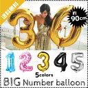 M1 【メール便送料無料】選べる5色・数字 バルーンBIGサイズ 約90CM アルミ 風船 ナンバー バルーン 誕生日 お祝い ゴ…