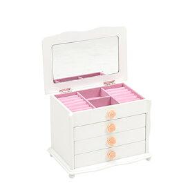 ジュエリーボックス(ローズ型) 4段 収納 アクセサリーケース 化粧ケース 雑貨 宝石箱 鏡付き ホワイト[MUD-6111WH]