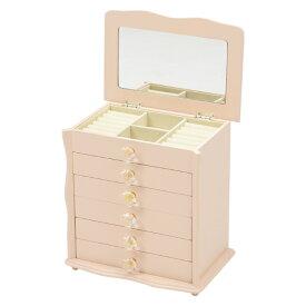 ジュエリーボックス(クリスタル型) 6段 収納 アクセサリーケース 化粧ケース 雑貨 宝石箱 鏡付き ピンク 姫系 [MUD-6889PI]