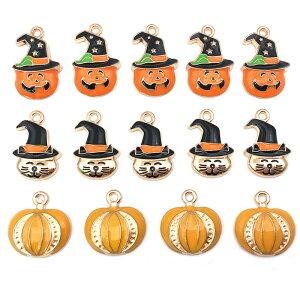 ハロウィン チャーム Halloween かぼちゃ 猫 手芸 ハンドメイド パーツ ゴールド 1075