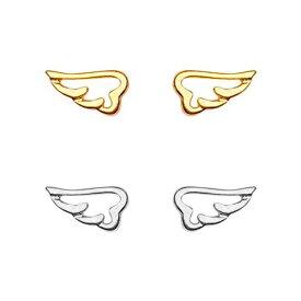 S925 翼 羽 ピアス スタッドピアス ミニサイズ ウイング 透かし 両耳 1098