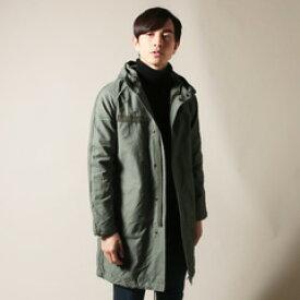 メンズファッション 日本製 ヨコムラ バックサテン スタンドフード モッズコート UPSCAPE AUDIENCE アップスケープオーディエンス