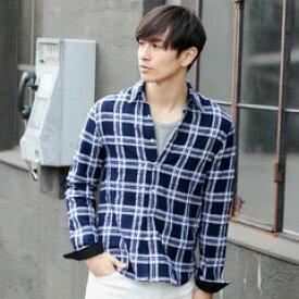 SPU スプ チェックシャツ メンズ チェック 長袖 シャツ メンズファッション ワッシャー