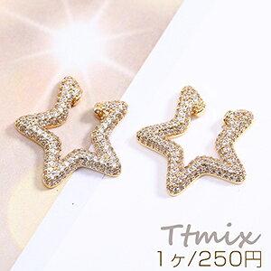 高品質ジルコニアイヤーカフ 星型 23×23mm 片耳用 ゴールド【1ヶ】
