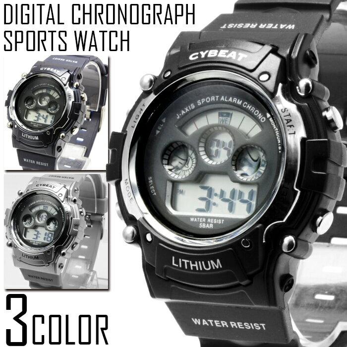送料無料 1年保証 メンズ ビッグフェイス デジタル クロノグラフ 腕時計 保証書付き 全3色 WT-FA 0607