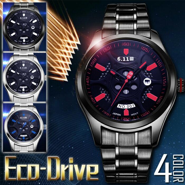 【エコドライブ/ソーラー時計】メンズ フルステンレス仕様 プレミアム ソーラー腕時計 1年保証・BOX付き 全2色10P03Dec16 AOR-A N1120 0125 0120