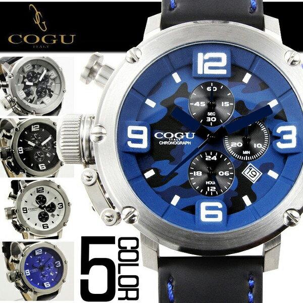 腕時計 メンズ ブランド 送料無料 1年保証【全5色】正規 COGU コグ 逆リューズ 仕様 3D ビッグフェイス クロノグラフ 腕時計 BOX 保証書付き 10P03Dec16 0130 AOR-A CRD-LTD