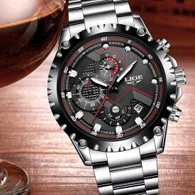 【店内全品ポイント10倍&クーポン割引き!9/26(土)1:59迄】腕時計 メンズ クロノグラフ 1年保証 メンズ 腕時計 カレンダー クロノグラフ搭載 42mm ミディアムフェイス 腕時計 ブラック AOR-A 新生活 プレゼント