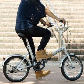 【店内全品ポイント10倍&割引クーポン・6/18(火)11:59迄】折りたたみ 自転車 16インチ FIELD CHAMP シンプル 16インチ 折りたたみ自転車 シルバー X0111