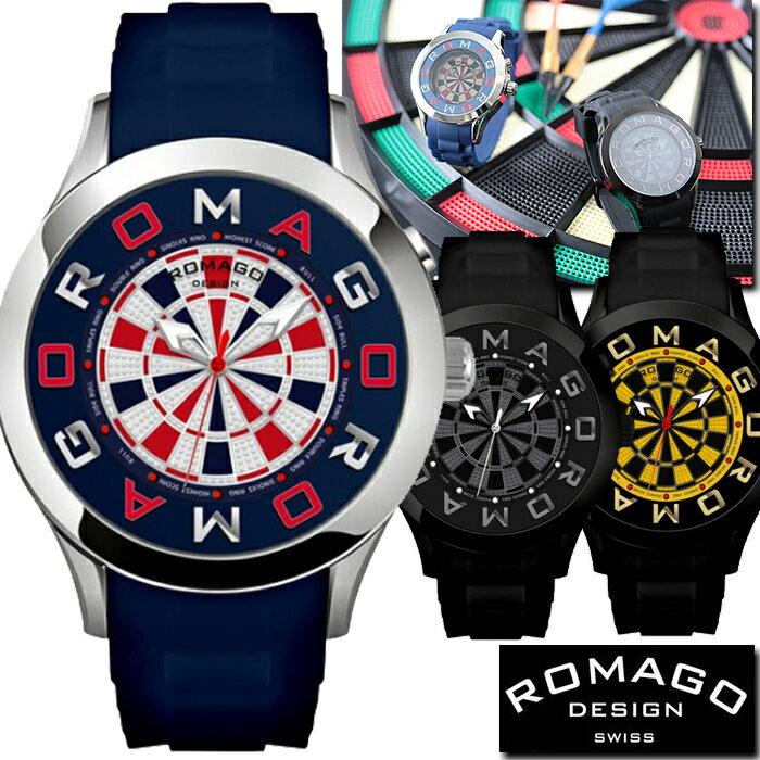★限定ダーツモデル★腕時計 メンズ レディース ブランド 1年保証 正規 ROMAGO(ロマゴ) ATTRACTIONミラー文字盤 ビッグフェイス腕時計 BOX 保証書付き