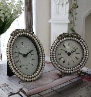 リボンパールの置時計♪(ラウンド・オーバル)アンティーク風シャビーシックフレンチカントリーテーブルクロックリボンモチーフ