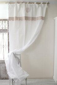 (SALE・50)フランスから届くフレンチリネン カーテン・リボンタイプ(ホワイト×ベージュ系) Blanc de Paris 間仕切り のれん モノグラム刺繍 シャビーシック アンティーク風 フレンチカントリー フランス 姫系