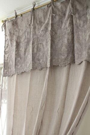 フランスから届くフレンチリネン(カーテン・リボンタイプ(トープ刺繍系))【BlancdeParis】間仕切りのれんモノグラム刺繍シャビーシックアンティーク風フレンチカントリーフランス