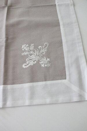 フランスから届くフレンチリネン(テーブルクロス85cm角(グレイ×ホワイト))【BlancdeParis】トップクロスモノグラム刺繍シャビーシックアンティーク風フレンチカントリーフランス
