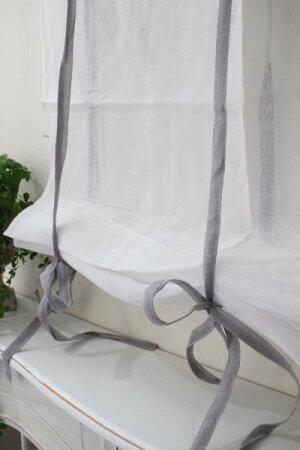 フランスから届くフレンチリネン(ウィンドウカーテン60×160・ホワイト×グレーリボン)【BlancdeParis】リボン調整カフェカーテンのれんモノグラム刺繍シャビーシックアンティーク風フレンチカントリーフランス