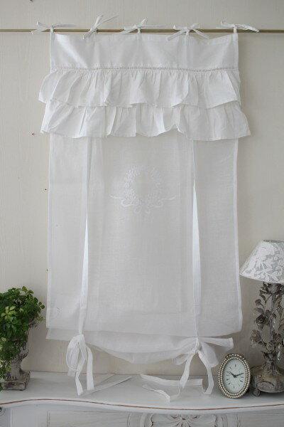 フランスから届くフレンチリネン(ウィンドウカーテン60×160・ホワイト×ホワイト2段フリル) 【Blanc de Paris】 リボン調整 カフェカーテン のれん モノグラム刺繍 シャビーシック アンティーク風 フレンチカントリー フランス