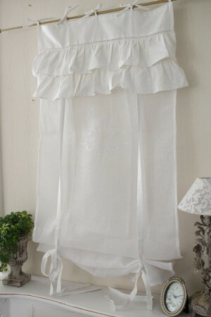 フランスから届くフレンチリネン(ウィンドウカーテン60×160・ホワイト×ホワイト2段フリル)【BlancdeParis】リボン調整カフェカーテンのれんモノグラム刺繍シャビーシックアンティーク風フレンチカントリーフランス