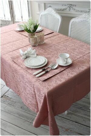 ★NEW★ダマスクローズ撥水テーブルクロス140×240(オフホワイト・ローズ・グリーン・ライトブラウン)はっ水ダマスク柄薔薇テーブルクロスフリークロスレターパックOK