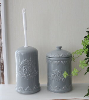 フレンチテイストなトイレブラシ♪(ホワイト・グレイ)陶器製ブラシ付きトイレブラシセットサニタリーフレンチカントリー