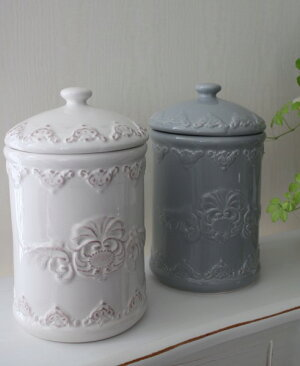 フレンチテイストなサニタリーポット♪(ホワイト・グレイ)陶器製ブラシ付きトイレサニタリーフレンチカントリー