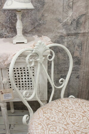 ホワイトアイアン・背付スツール(ピンクダマスク)スツール椅子チェアホワイトアイアン製シャビーシックアンティーク雑貨アンティーク風輸入雑貨antiqueshabbychic