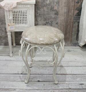 ホワイトアイアン・丸スツール(ベージュアラベスク)スツール椅子チェアホワイトアイアン製シャビーシックアンティーク雑貨アンティーク風輸入雑貨antiqueshabbychic