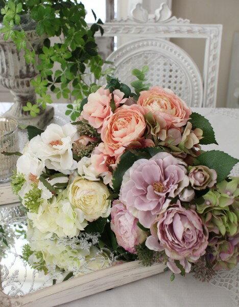 ローズ&アジサイのミックスブーケ(クリームホワイト、ピンクモーブ、パープル) シルクフラワー アーティフィシャルフラワー 白色 ピンク色 紫色 花束 薔薇 造花