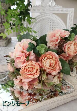 ローズ&アジサイのミックスブーケ(クリームホワイト、ピンクモーブ、パープル)シルクフラワーアーティフィシャルフラワー白色ピンク色紫色花束薔薇造花