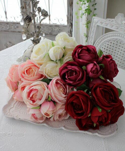 カップ咲きのオールドローズブーケ・5本タイプ(ホワイト・ピンク・ピーチ・ワイン・レッド)  【シルクフラワー・アーティフィシャルフラワー】 花束 薔薇 造花
