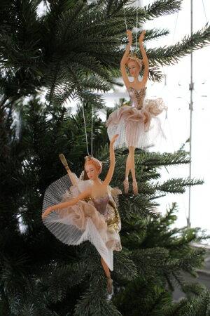 クリスマスオーナメント♪(スカイバレリーナ・2種)シャビーシック北欧フレンチロマンティックラインストーン可愛いクリスマス飾りツリーオーナメント